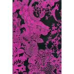 Feuille Décopatch - Broderie rose sur fond noir - 30 x 40 cm