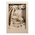 Cadre en bois 3D à monter Kit Flamant rose 20 x 30 x 6.7 cm