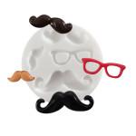 Moule en silicone thème moustache - 4 formes - diam. 7 cm