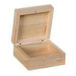 Boite en bois Carrée 10 x 10 x 5 cm