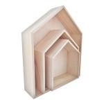 Etagère en bois maison - 3 formats 30 à 17,5 cm