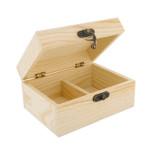 Boîte à thé 2 compartiments en bois - 14,5 x 6,5 x 10,5 cm