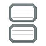 Pochette de 12 étiquettes scolaires autocollantes bord épais gris