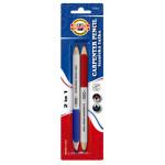 Crayon charpentier mine bleu/rouge par 2