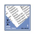 Plaque de plastique blanc. 19 x 29 cm ep. 1,5 mm