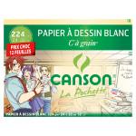 Papier C à Grain 224 g/m² Pochette de 12 feuilles 24 x 32 cm