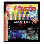 Crayons de couleur Woody Set Arty 6 couleurs + taille crayon